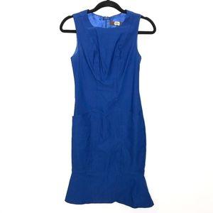 Eva Franco Peplum Hem Blue Sheath Dress